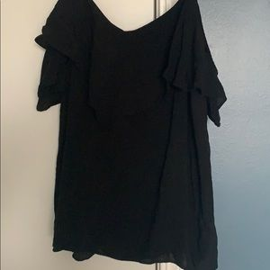 Off the shoulder black tee